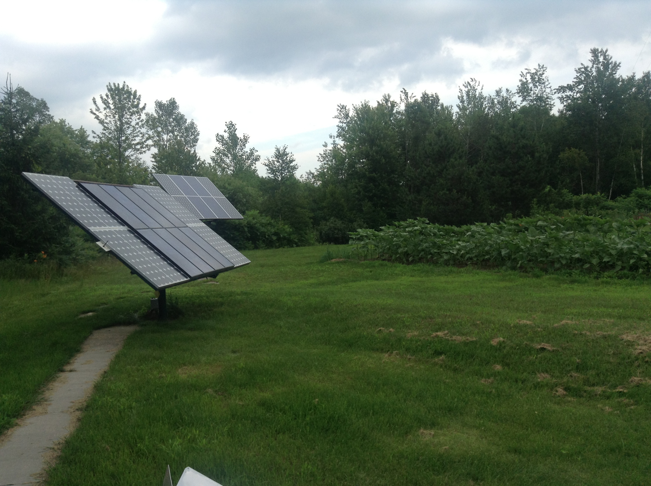 Solar panels on a completely off-grid farm